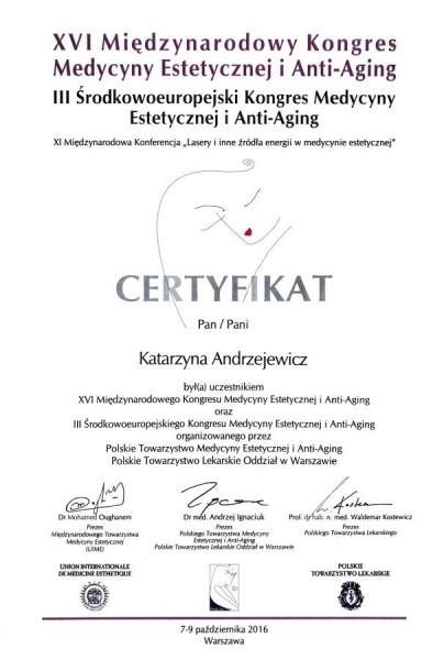 certyfikat z XVI kongresu medycyny estetycznej 2016