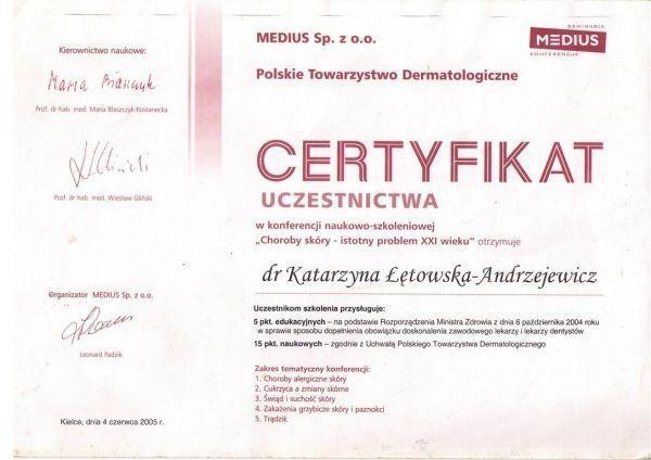 certyfikat Polskiego Towarzystwa Dermatologicznego