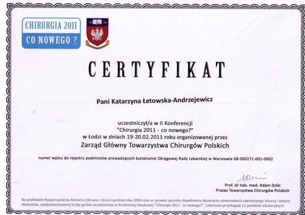 chirurgia 2011 - co nowego - certyfikat