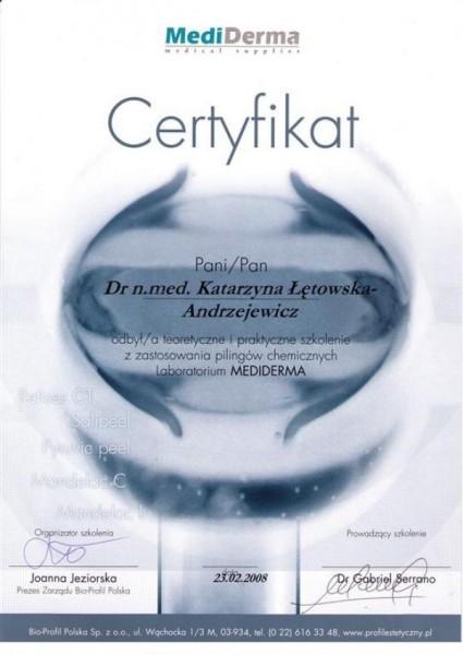 MediDerma certyfikat