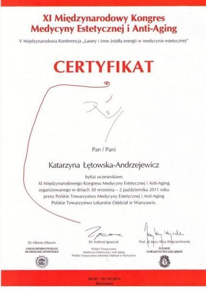 certyfikat z kongresu medycyny estetycznej