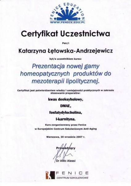 certyfikat uczestnictwa w prezentacji nowej gamy homeopatycznych produktów do mezoterapii lipolitycznej