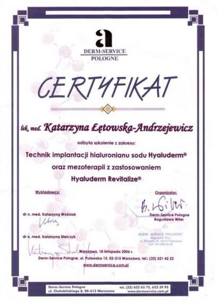 medycyna estetyczna estetica certyfikat katarzyna Łękowska