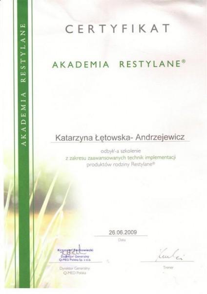 certyfikat akademia restylane