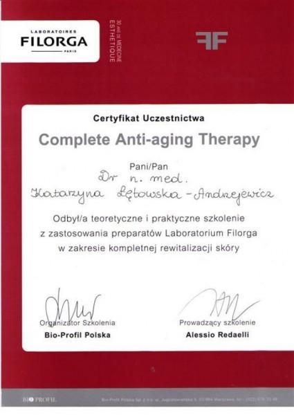 certyfikat uczestnictwa complete anti-aging therapy