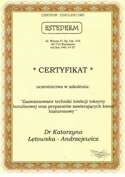 certyfikat estederm dla Katarzyny Łętowskiej-Andrzejewicz