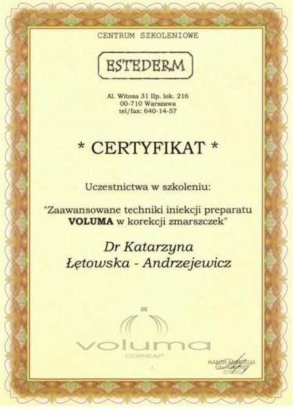 Estederm certyfikat