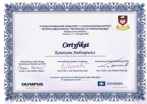 certyfikat Katarzyna Łętowska-Andrzejewicz