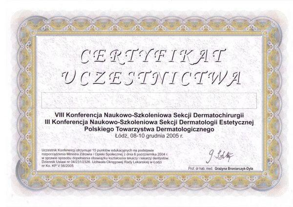 certyfikat uczestnictwa dla Katarzyny Łętowskiej-Andrzejewicz