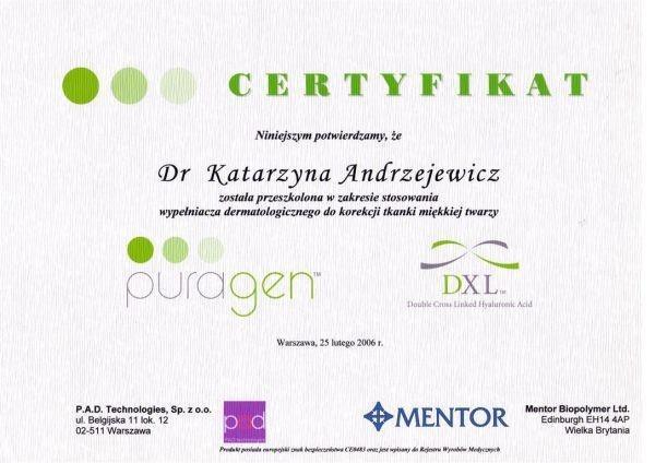 Certyfikat przeszkolenia w zakresie stosowania wypełniaczadermatologicznego